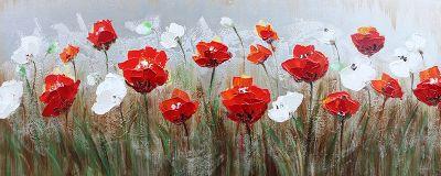 Tulpen Rood Wit Velden Gras Olieverf Schilderij 150x60