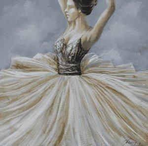 Schilderij ballerina close up 100x100