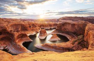 Glas schilderij terracotta bergen
