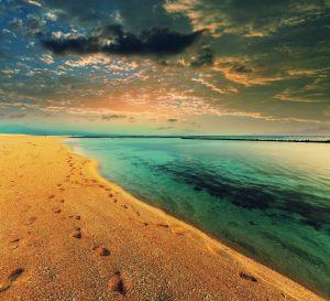 Beton schilderij turquoise oceaan