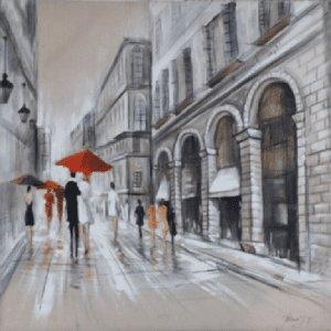 Schilderij stedelijke straat 100x100