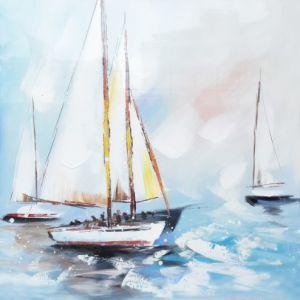 Schilderij oceaan zeilboten 80x80