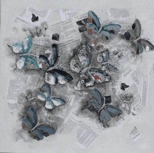 Schilderij kranten vlinders 100x100