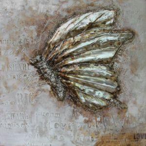Schilderij grijze vlinder 80x80
