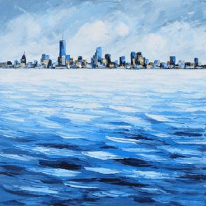 Schilderij zeezicht stad 100x100