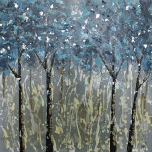 Schilderij blauwe bomen 100x100