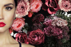 Beton schilderij bloemen vrouw
