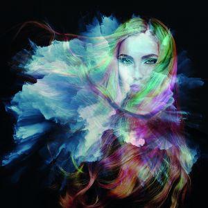 Beton schilderij kleurrijke vrouw