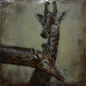 3D metaal schilderij twee giraffen 100x100