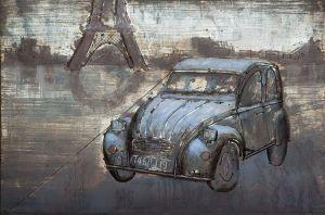 3D metaal schilderij lichte blauwe auto 120x80