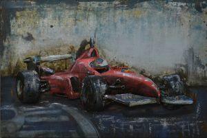 3D metaal schilderij rode formule 1 bolide 60x40