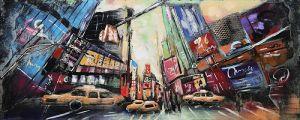 3D metaal schilderij kleurrijke Times Square 150x60
