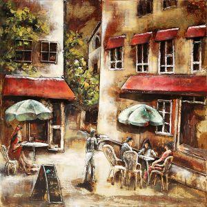3D metaal schilderij terras restaurant 100x100