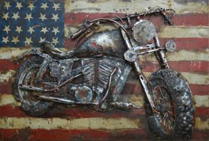 3D metaal schilderij VS vlag met motor 60x40