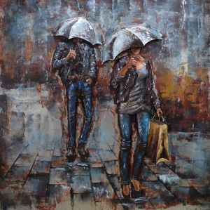 3D metaal schilderij twee paraplu mensen 100x100