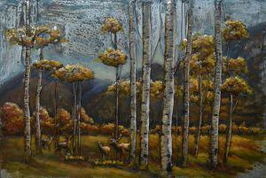 3D metaal schilderij gele bruin bosrijk 120x80