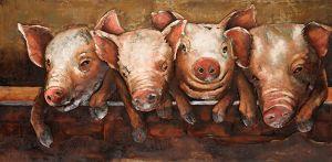 3D metaal schilderij vier biggetjes 120x60