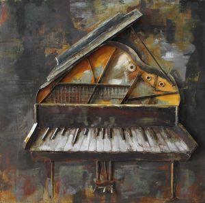 3D metaal schilderij open piano 60x60
