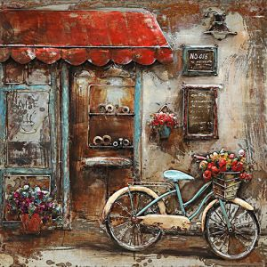 3D metaal schilderij barista cafe met fiets 100x100