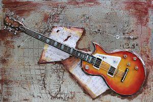 3D metaal schilderij gitaar 120x80