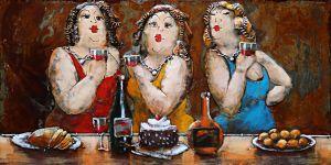 Metaal 3D Schilderij 3 kleurrijke drinkende dames 120x80