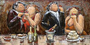 Metaal 3D Schilderij 4 kleurrijke drinkende dames en heren 120x80