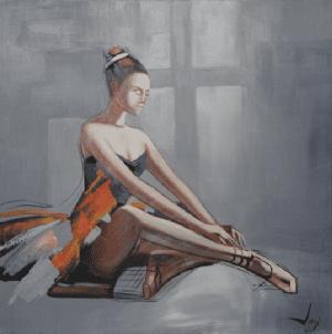 Schilderij elegante ballerina 100x100