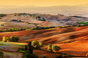 Glas schilderij Toscaanse landschap