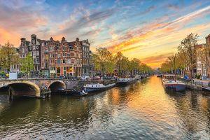 Glas schilderij Amsterdamse grachten