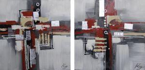 Schilderij abstracte vakken 120x60