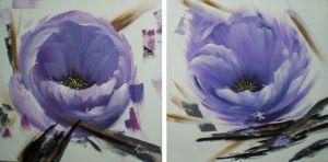 Schilderij paarse boterbloemen 120x60