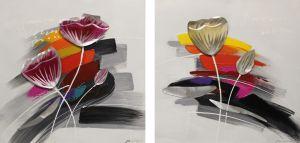 Schilderij abstracte bloemen 120x60