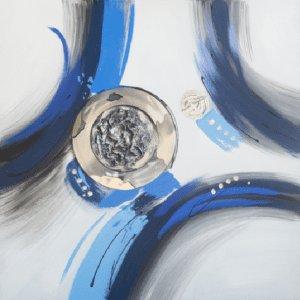 Schilderij abstract blauw 100x100