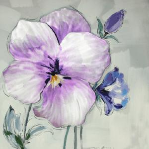 Schilderij paarse en blauwe bloemen 100x100