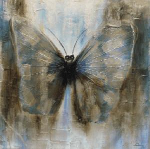 Schilderij vlinder abstract 100x100