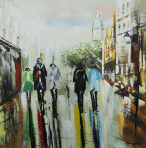 Schilderij stedelijke markt 100x100