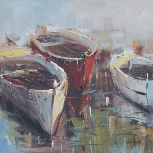 Schilderij boten 80x80