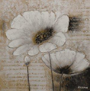 Schilderij witte margrietjes 100x100
