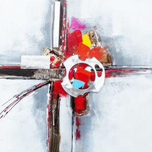 Schilderij abstract metaal 80x80