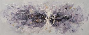 Olieverf schilderij paars wit zwart abstract