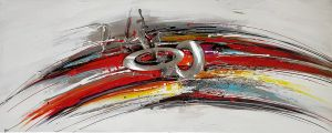 Olieverf schilderij kleurrijk aluminium abstract