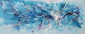 Olieverf schilderij turquoise wit blauw abstract