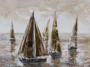 Schilderij beige zeilboten 100x100