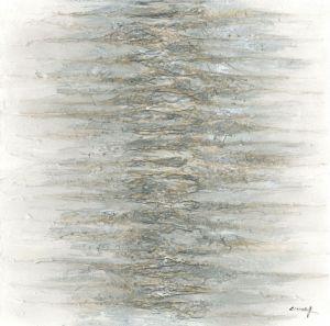 Schilderij grijze massa 100x100