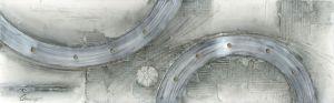 Schilderij aluminium grijze ringen 150x60