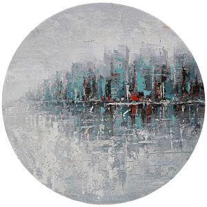 Rond schilderij turquoise stadgrens 80 cm