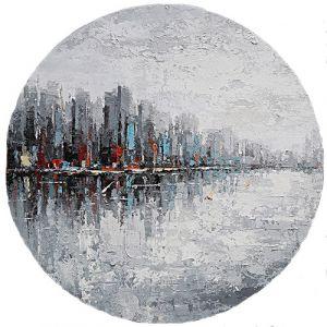 Rond olieverf schilderij stedelijke stadsgrens 80 cm