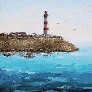 Schilderij oceaan zicht met vuurtoren 100x100