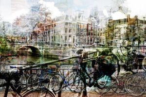 Amsterdamse Grachten Fietsen Huizen Bruggen Glas Schilderij 120x80