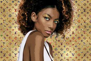 Gouden Fotomodel Louis Vuitton Metallic Glas Schilderij 120x80